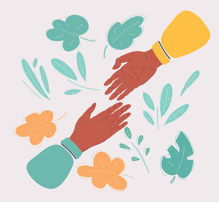Vector illustration of af two hands reaching for each other Illustration