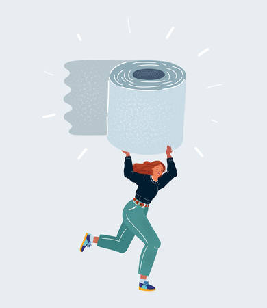 Vector illustration of woman in panic shopping in a supermaket grabs toilet of paper.