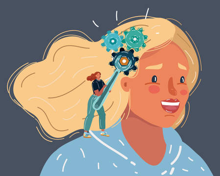 Cartoon vector illustration of Gear symbol in the head of a thinking woman on a background. Influence on opinion, manipulation, therapy, behavior correction, lack of independence.