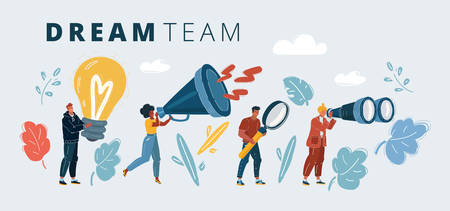 Cartoon vector illustration of people with big object. Successful dream team, teamwork in business concept. Man and woman with lamp, megaphone, magnifying lens, binoculars