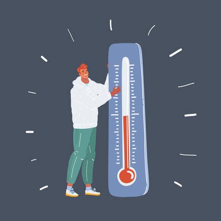 Cartoon vector illustration of Global Warming Icon. Ecology concept. Man standing with big thermometer on dark. Illustration