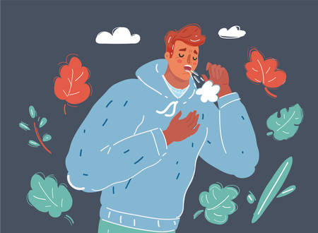 Cartoon vector illustration of man coughing because of pulmonary disease isolated on dark background.
