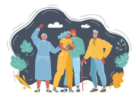 Cartoon vector illustration of happy family portrait of three generations, grandparents with grandchildren.