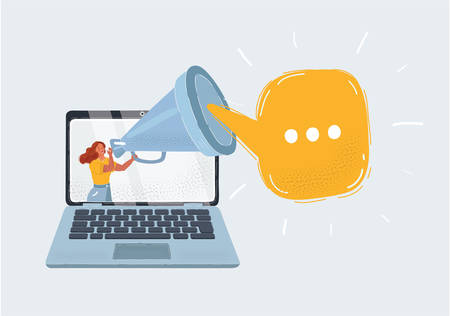Vector illustration of blogger screaming loudly in a big megaphone on screen of laptop