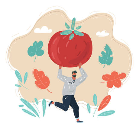 Illustration of Man with big tomato in his hands