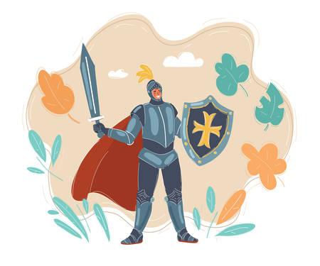 Vector illustration of Knight holding sword holding.