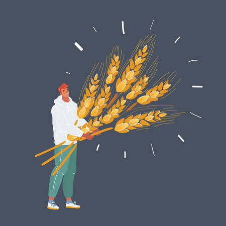 Cartoon vector illustration of man with wheat with big sheaf of wheat. Isolated character on dark background. Vetores
