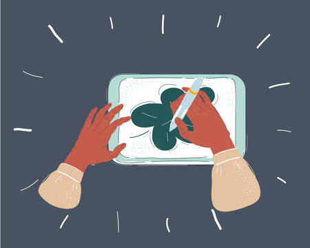 Cartoon vector illustration of Close up hands holding a digital tablet with a picture of leave. Object on dark background.