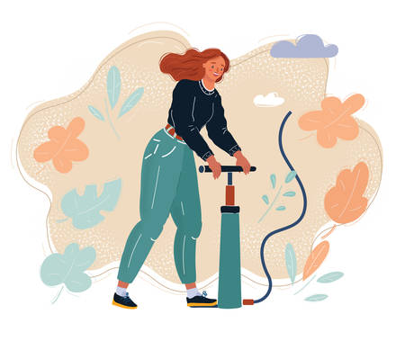 Cartoon vector illustration of Woman filling air in with pumper. Pump it up concept.