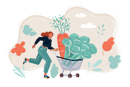 Young woman pushing shopping trolley with fresh vegetables.