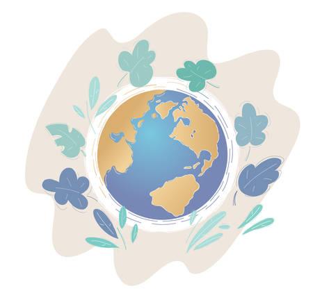 Illustration of a calm peaceful earth globe, view from above. Vektoros illusztráció