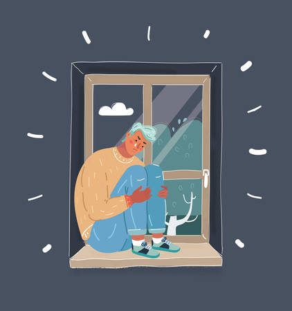 Cartoon vector illustration of guy sitting on window and cry. Sad depressive man sitting on the windowsill, hugging his knees sitting at night. Illustration