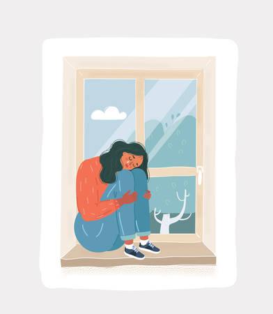 Cartoon vector illustration of sad depressive cry girl looking out the window. Sad depressive woman sitting on the windowsill, hugging his knees sitting at night.