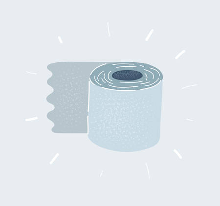 Cartoon vector illustration of Toilet roll on white background.