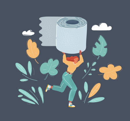 Cartoon vector illustration of Woman in panic shopping in a supermaket grabs toilet paper. Big roll in her hands.