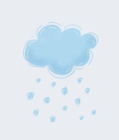 Illustration of Snowy winter cloud with snowflakes. Object on white background. Vektorgrafik