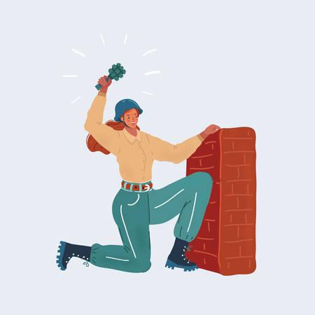 Vector illustration of woman throws a grenade, feminism concept Illusztráció