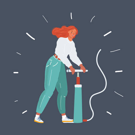 Vector illustration of caucasian woman pump up with pumper on dark background.