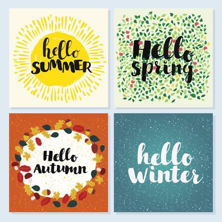 Four Seasons Typographic Banner. Hello spring, winter, spring summer Vektorové ilustrace