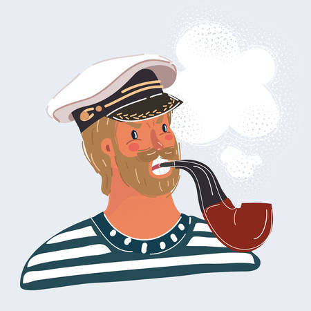 Cartoon vector illustration of sailor man, captain, isolated on white background. Seaman face smoke tobacco pipe 向量圖像