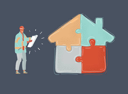 Cartoon vector illustration of man holding bluepint plan in hands, standing near jigsaw house on dark background. Sucess finish, building house.