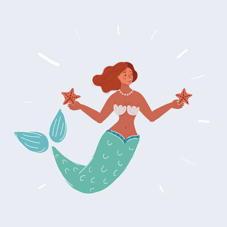 Cartoon vector illustration of mermaid woman with starfish in her hands. Human character on white background.
