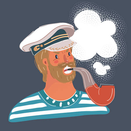 Cartoon vector illustration of funny sailor man with tobacco pipe in her mouth. aptains face on dark background.