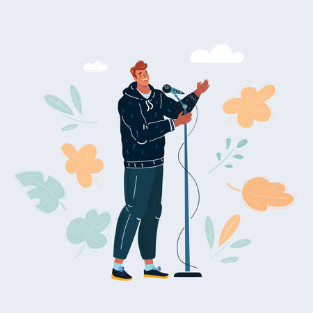 Vector illustration of man singing into a microphone
