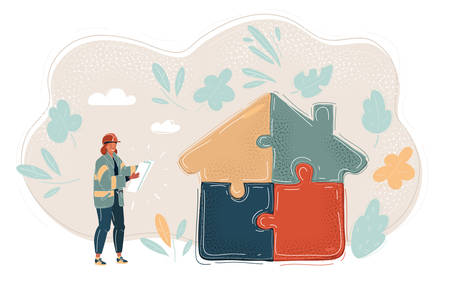 Vector illustration of woman with blueprint in her Hands. Building jigsaw part house.