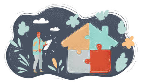 Vector illustration of jigsow house puzzle on dark.
