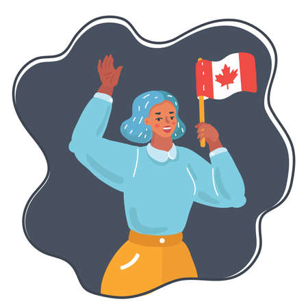 Vector cartoon illustration of woman hold national flag Canada. Female character on dark background.