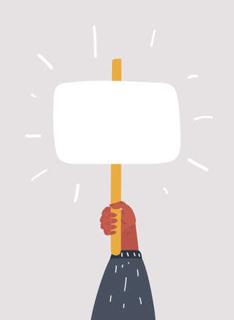 Vector cartoon illustration of Placard in hands. Object on white background.