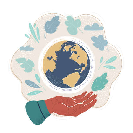 Vector illustration of Human hand Holding the Earth globe: The Future and environment is in our Hands 向量圖像