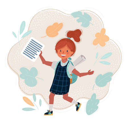 Vector illustration of smiling school girl with backpack holding sheet of test.