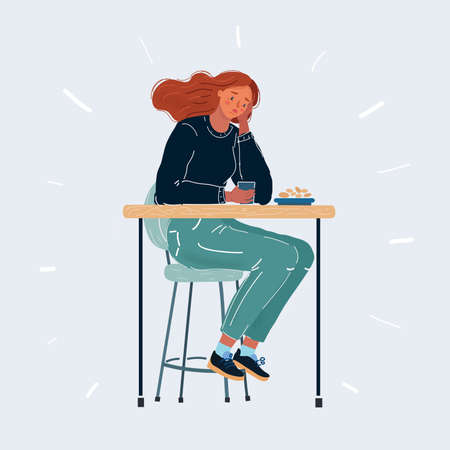 Vector illustration of sad woman. Depressed person sitting at the bar or cafe,