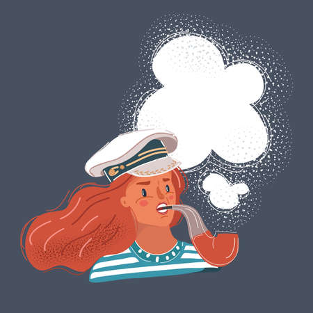 Vector illustration of capitan woman with tobaco pipe in her teeth. Comic concept on dark background