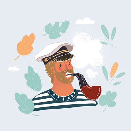 Vector illustration of capitan, sailor man with tobaco pipe in her teeth. Comic concept on white background.
