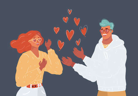 Vector illustration of Young couple in love. They are smiling and looking at each other. Small heart around.