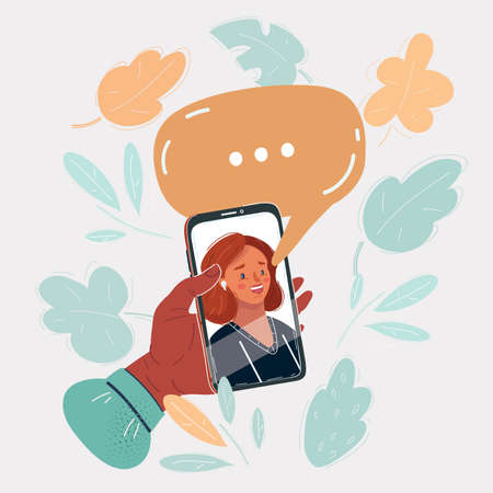 Vector illustration of Womans face on smartphon screen, speech bubble above. Person using a mobile phone for online concultation, videocall, wath video in social media