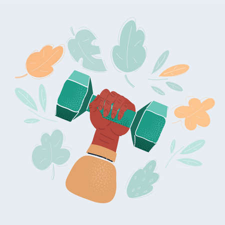 Vector illustration ofhuman hand holding dumbbell isolated on white background. Close up, concept of healthy lifestyle, power and strong people.