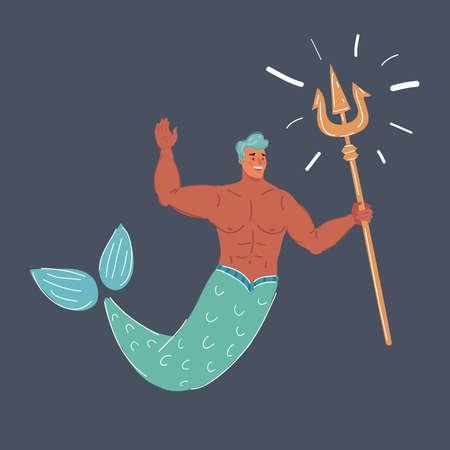 Vector illustration of Mermaid man isolated on a dark background Vettoriali