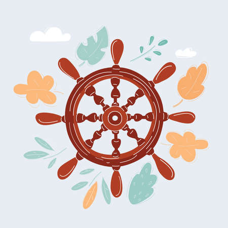 Vector illustration of isolated vintage wooden s ships steering wheel 向量圖像