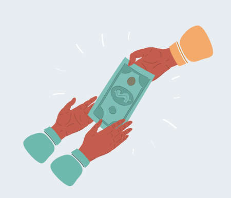 Vector illustration of hand giving money to another persons hands. Object on white background.