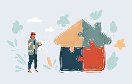 Vector illustration of Illustration of a woman just build jigsaw puzzle part which forming a house. Builder with bluepting standing near.
