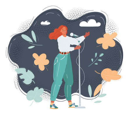Vector illustration of woman holding a microphone and make stendup show, sing, speaks at the conference
