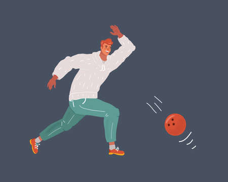 Vector illustration of man, a playing bowling on dark background.