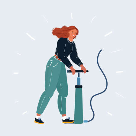 illustration of woman. Man inflates the air something with a pumper. Pump it up character. Ilustração