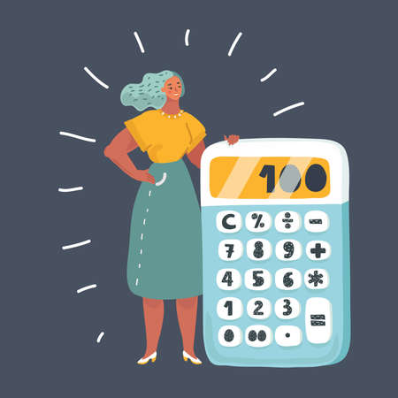 Vector cartoon illustration of tiny woman with a big calculator. Female character on dark background.  Illustration
