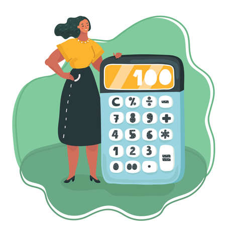 Vector cartoon illustration of tiny Woman with big calculator Diet plan concept on green background.