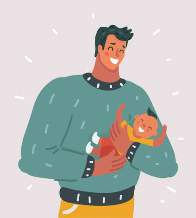 Vectro cartoon illustration of family, parenthood concept - happy father with little baby son on white isolated background.  Illustration